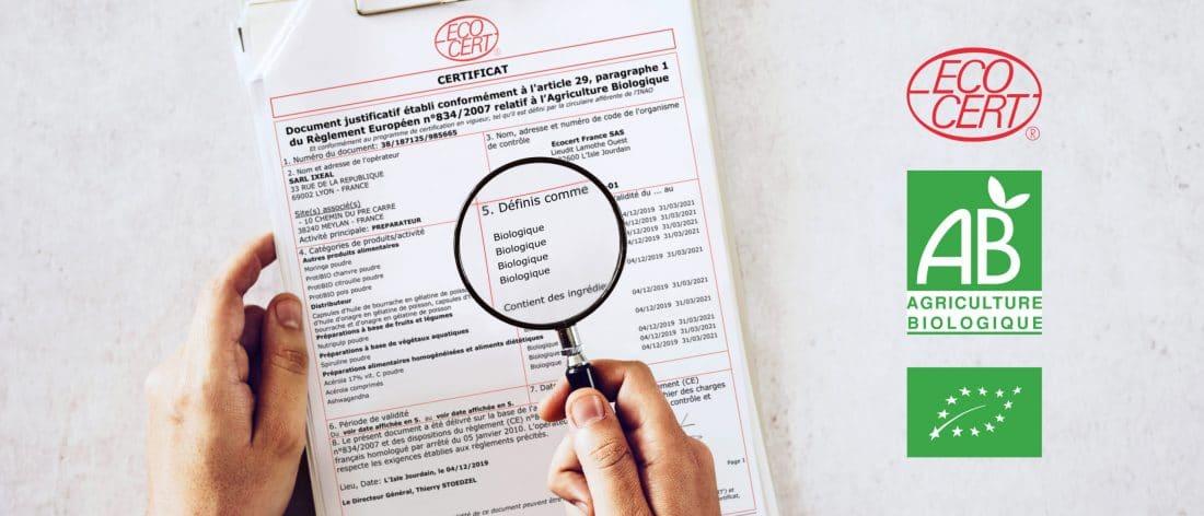 Vérifier la certification d'un produit Bio