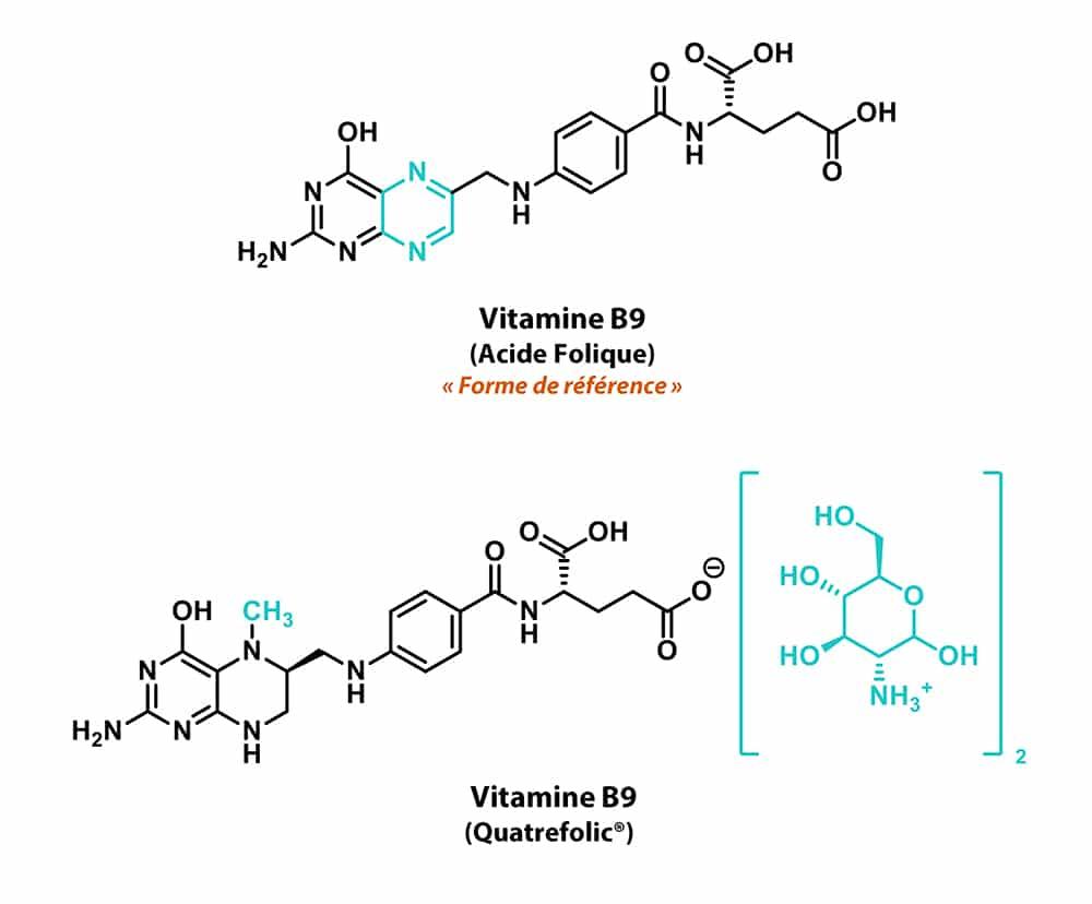 Structures de l'acide folique et du Quatrefolic