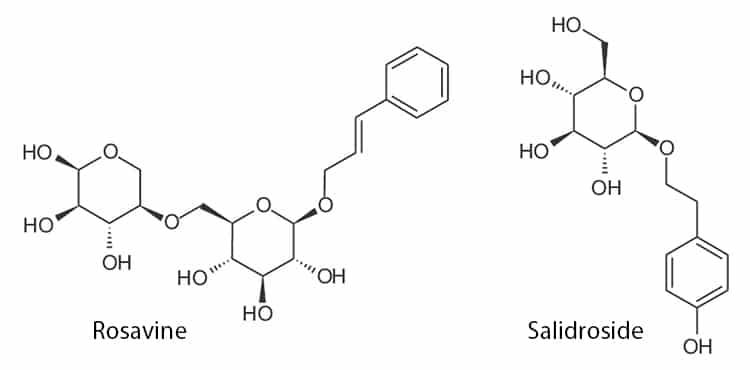 Structures moléculaires de la rosavine et salidroside, actifs majoritaires de la rhodiola rosea.