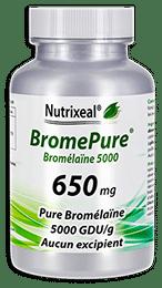 BromePure Nutrixeal : Bromelaïne 5000 GDU/g, 650 mg par gélule.