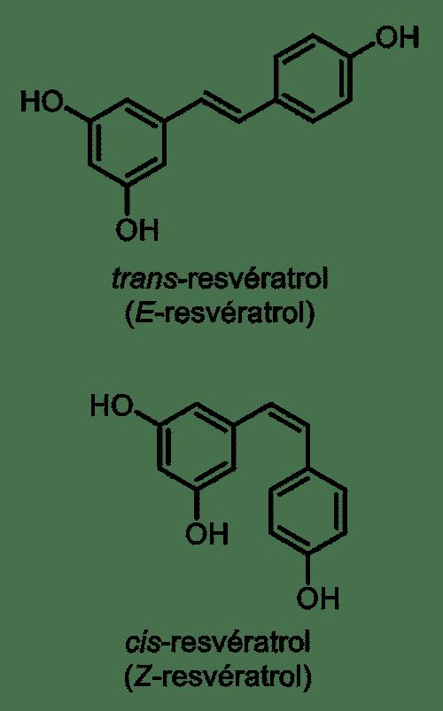 Resveratrol ci et trans : structures moléculaires
