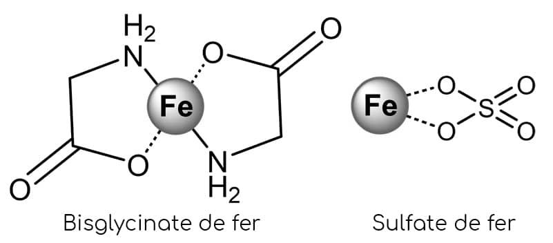 bisglycinate de fer et sulfate de fer