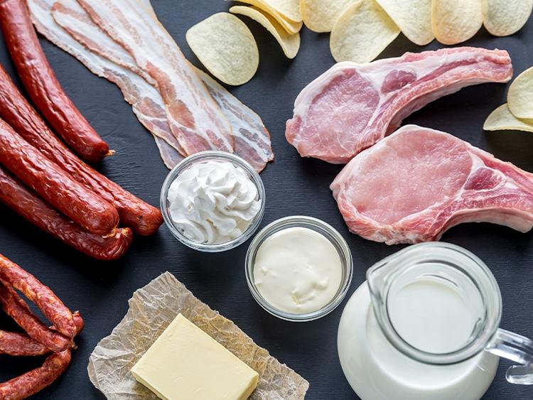 Exemples d'aliments riches en acides gras saturés